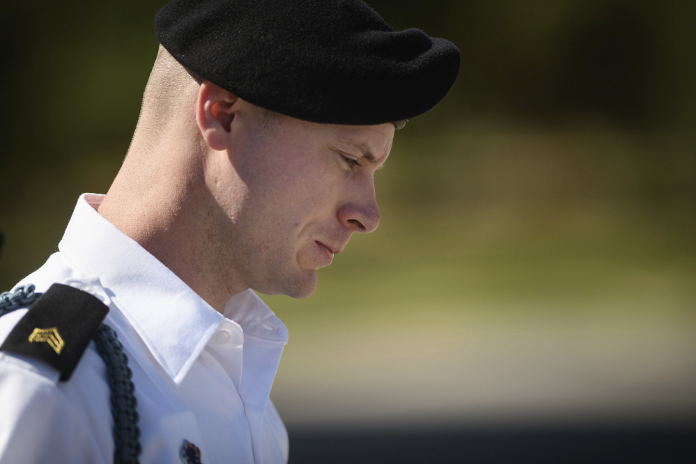 Army Sgt. Bowe Bergdahl leaves a motions hearing in Fort Bragg, N.C., on Sept. 27.