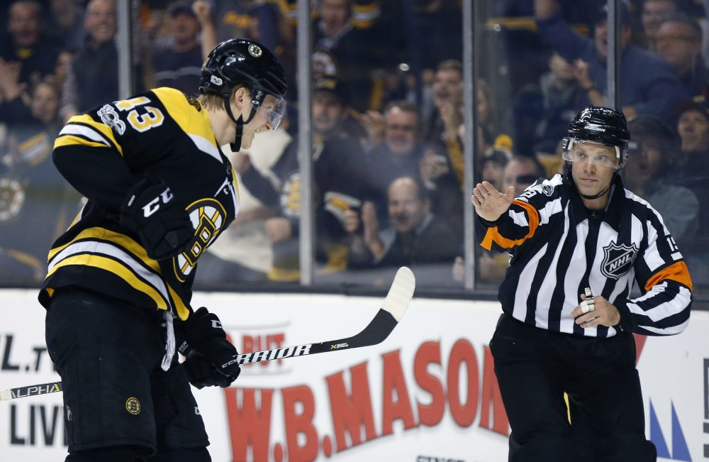 Boston's Danton Heinen celebrates his goal during the second period of Thursday night's game against the San Jose Sharks in Boston.