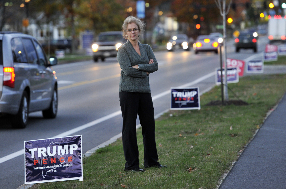 Elizabeth Stothart was fined $250 for taking Donald Trump campaign signs from the Route 1 median in Falmouth last fall. Shown here a year ago, she wrote at the time she had