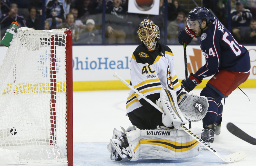 The Blue Jackets' Tyler Motte scores on Bruins goalie Tuukka Rask in the second period of Monday night's game in Columbus, Ohio.