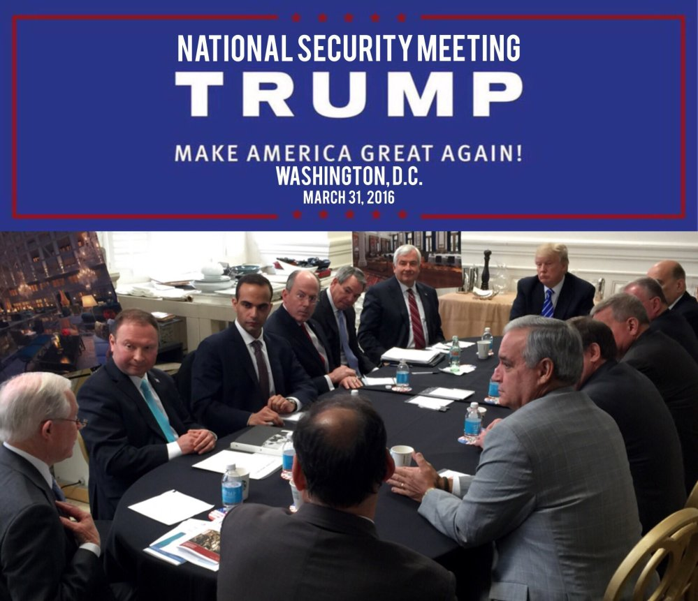 In this photo from President Trump's Twitter account, George Papadopoulos, third from left, sits at a table with then-candidate Trump and others at what is labeled at a national security meeting in Washington that was posted on March 31, 2016. Papadopoulos, a former Trump campaign aide belittled by the White House as a low-level volunteer was thrust Monday to the center of special counsel Robert Mueller's investigation, providing evidence in the first criminal case that connects Trump's team and intermediaries for Russia seeking to interfere in the campaign.