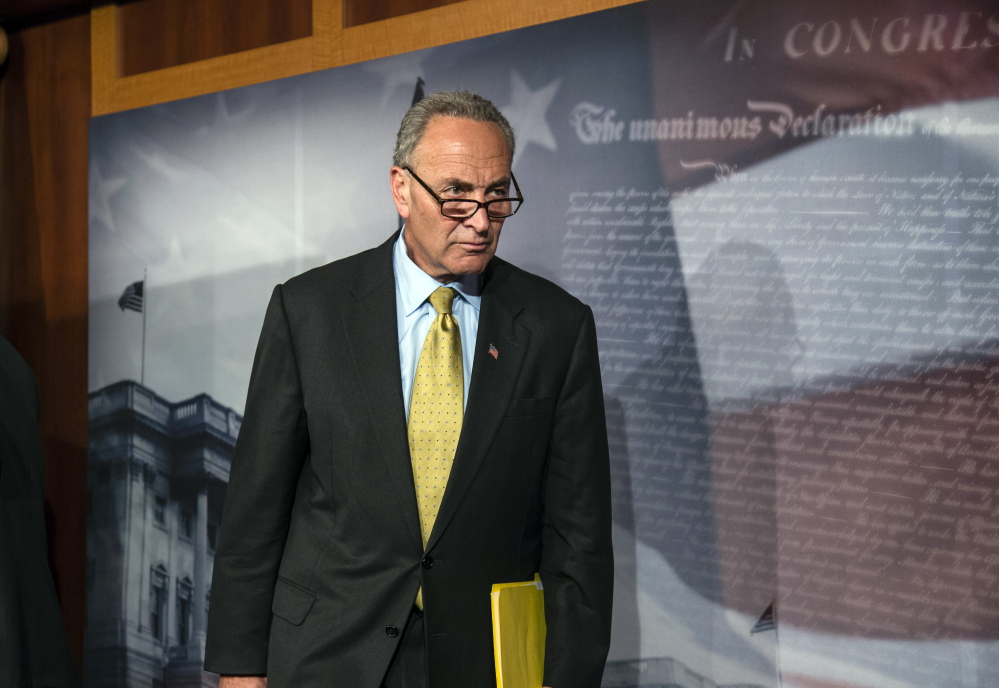 Democratic Sen. Chuck Schumer of New York, the minority leader, is among those blamed, in a new Republican ad, for increasing health insurance costs.