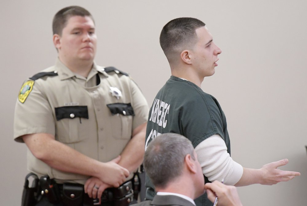 Tylor Reece cried and apologize Monday during his sentencing at the Capital Judicial Center in Augusta for two robberies he pleaded guilty to committing.