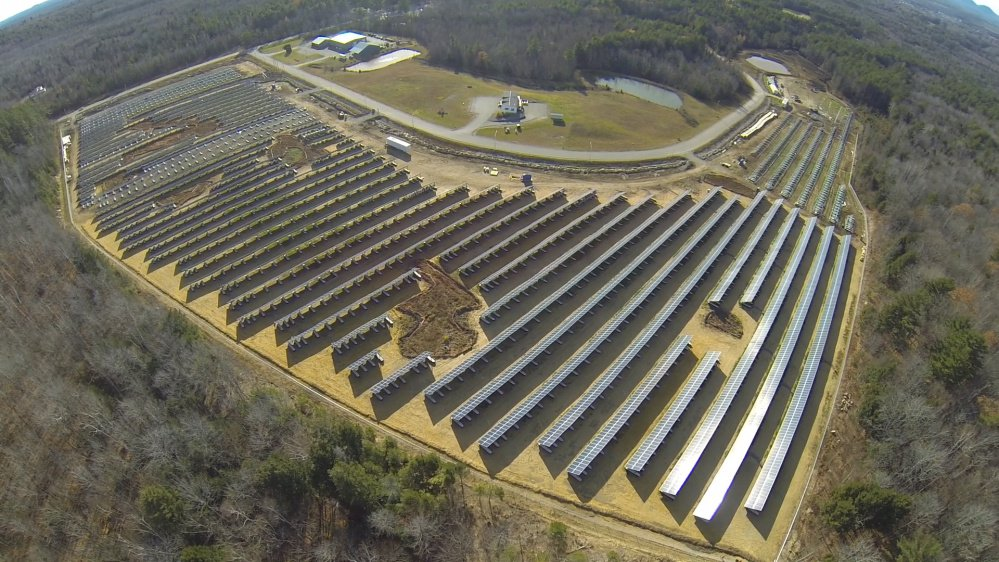 An aerial view of the 26,000-panel solar array spread over more than 20 acres at the Madison Business Gateway.