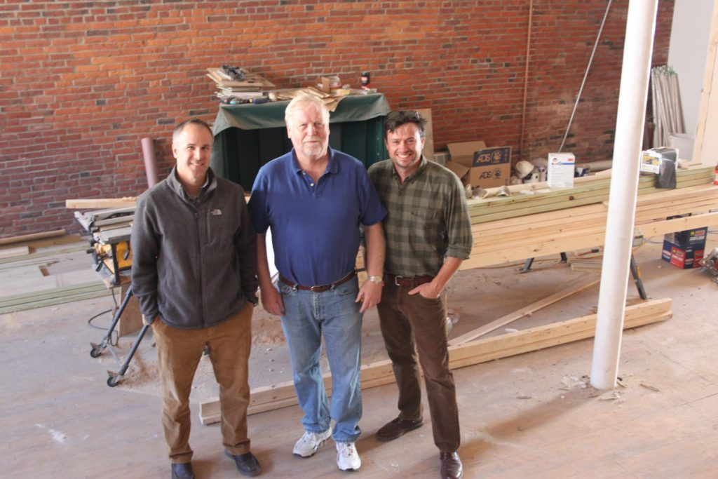 Mike Therriault, Terry Geaghan, and developer Sean Ireland in the space that will become Bath Brewing Company.