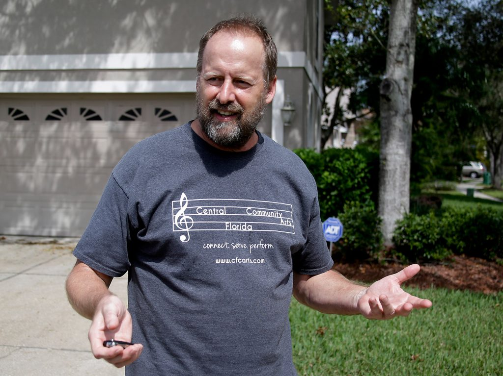 Eric Paddock, brother of Las Vegas gunman Stephen Paddock, speaks to reporters near his home in Orlando, Fla., on Oct. 9. Eric Paddock was interviewed by investigators and said,