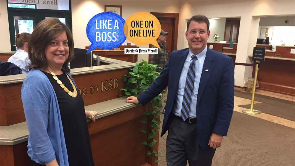 Portland Press Herald Publisher Lisa DeSisto and Kennebec Savings Bank C.E.O. Andrew Silsby