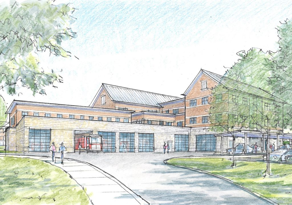 This rear view of Scarborough's proposed public safety building shows the drive-through fire truck bays.
