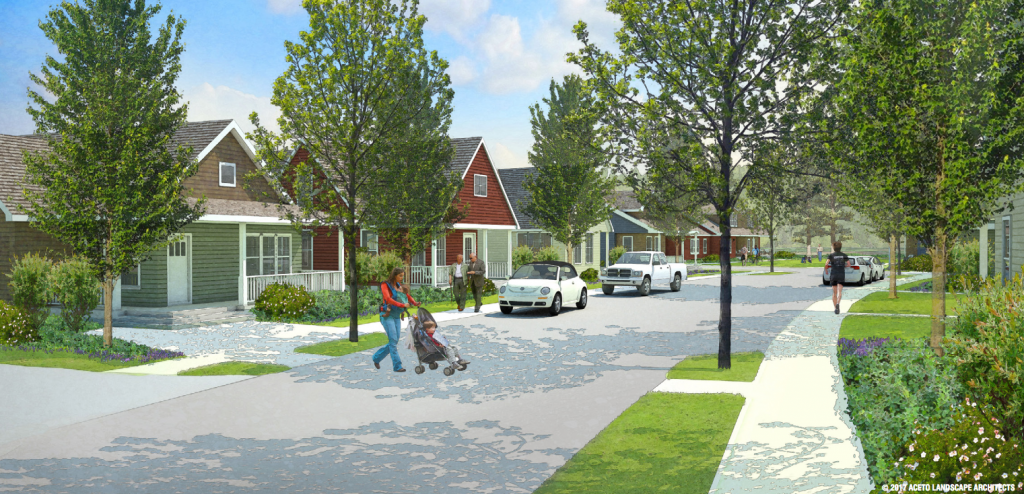 An architects' rendering of a potential middle-income housing development proposed for town-owned land in Cumberland, Maine.