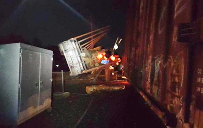 The scene in Danforth on Wednesday night after the collision of a train and a tractor-trailer.