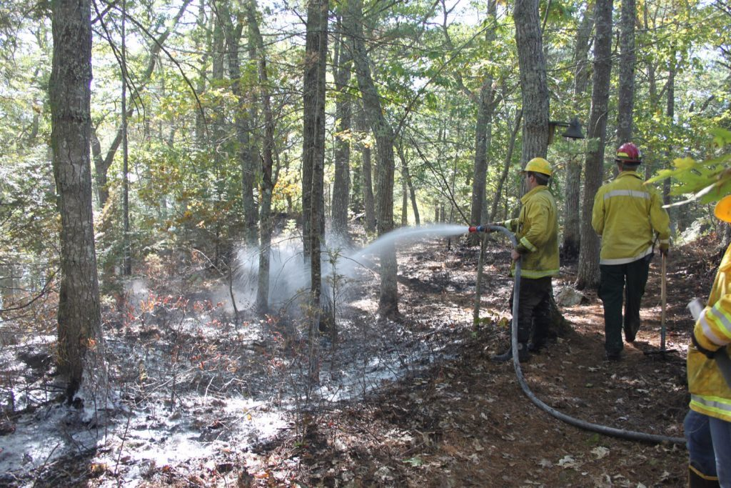 Fire fighters spray foam to contain a brush fire on an island in Hockomock Bay in Woolwich.