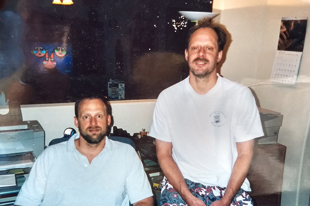 Accused Las Vegas shooter Stephen Paddock, right, is shown with his brother Eric Paddock in a 2002 family photo.
