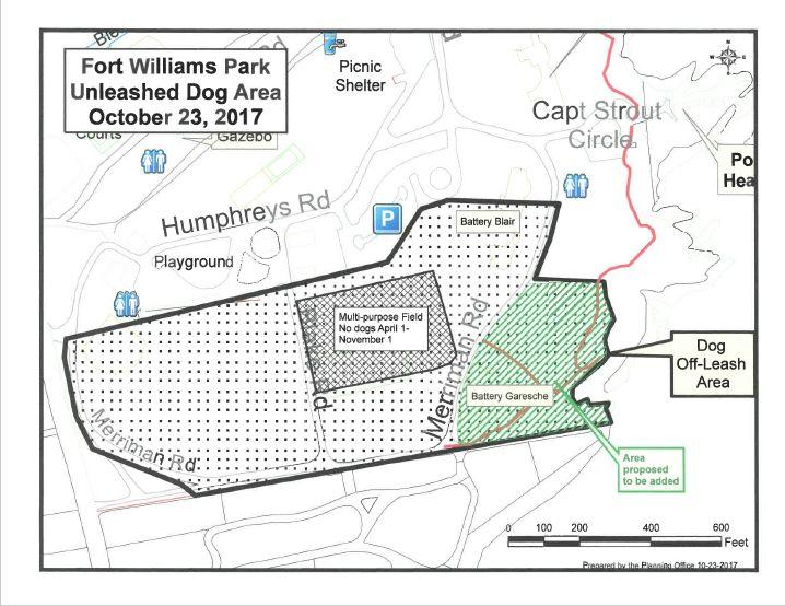 Under a proposal being considered for Fort Williams Park in Cape Elizabeth, the shaded space at right would be added to the area where off-leash dogs are allowed, while the athletic fields at the center would be off limits to all dogs for most of the year.