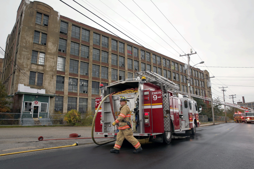 Sanford firefighters respond to a fire at the vacant Stenton Trust Mill on Thursday. Fires have been a frequent occurrence recently in Sanford.