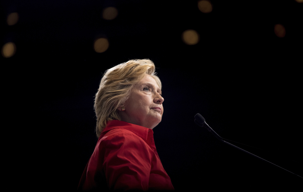 Hillary Clinton speaks at a rally in Pittsburgh in 2016 even as the hacking group known as Fancy Bear targeted top lieutenants at their personal Gmail addresses.