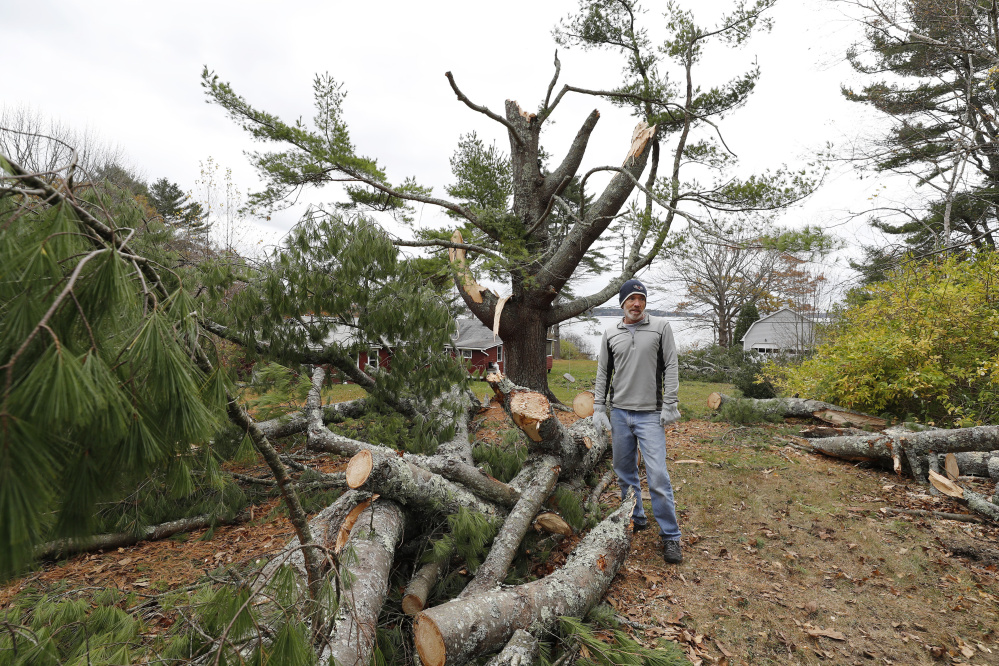 Will White surveys storm damage to his property Sunday on Wolfe's Neck Road in Freeport. The road has been without power since last Monday morning.