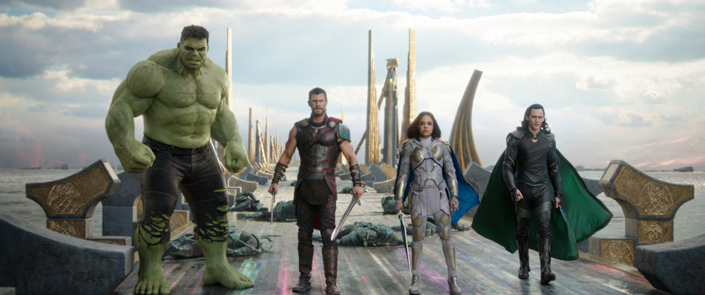 From left, the Hulk, Chris Hemsworth as Thor, Tessa Thompson as Valkyrie and Tom Hiddleston as Loki in a scene from the movie