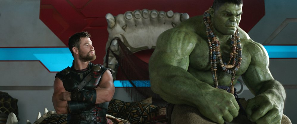Chris Hemsworth, left, and the Hulk are shown in a scene from