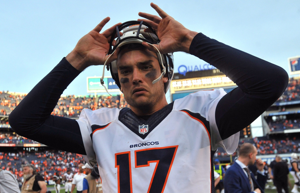 Brock Osweiler had a rough night for the slumping Broncos on Sunday against New England, but he's still Denver's starter.