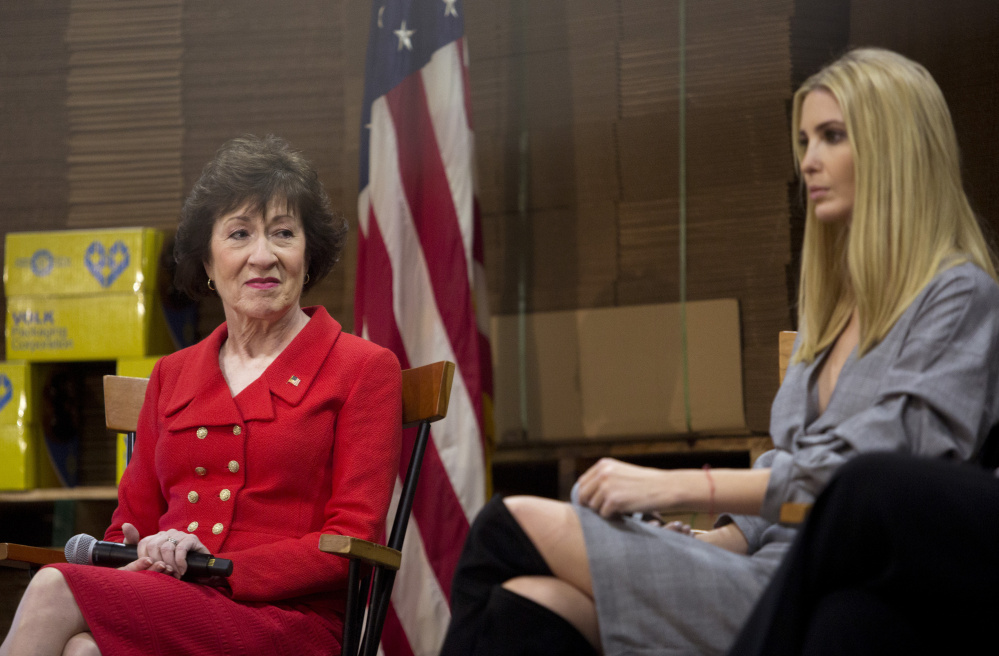 Susan Collins, left, who made a joint appearance in Biddeford on Friday with Ivanka Trump, has a lot of power to stop a bad bill. The senator should use her clout to stand in the way of the Republican tax reform plans, which would further disadvantage people who are already struggling.
