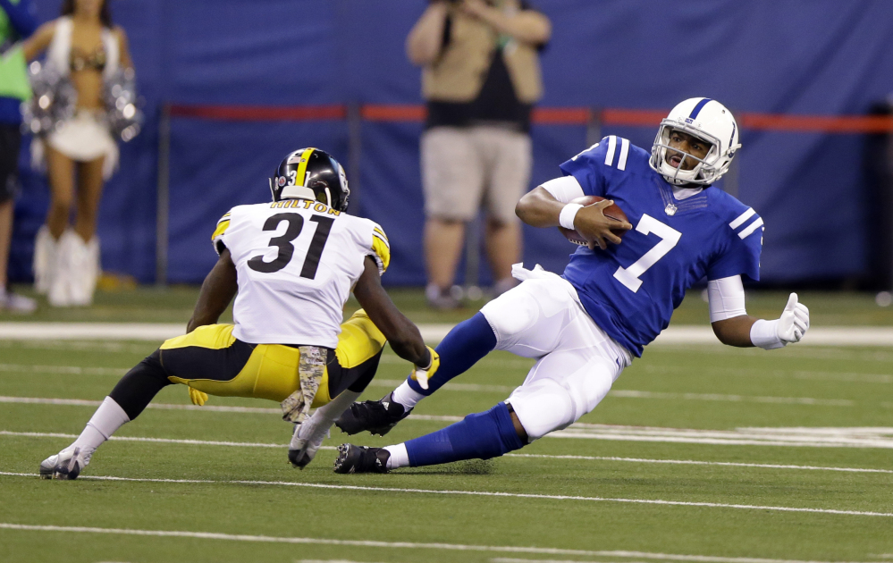 Indianapolis quarterback Jacoby Brissett returned to the game Sunday after taking a hit to the head. After the game, it was determined that he had symptoms of a concussion.