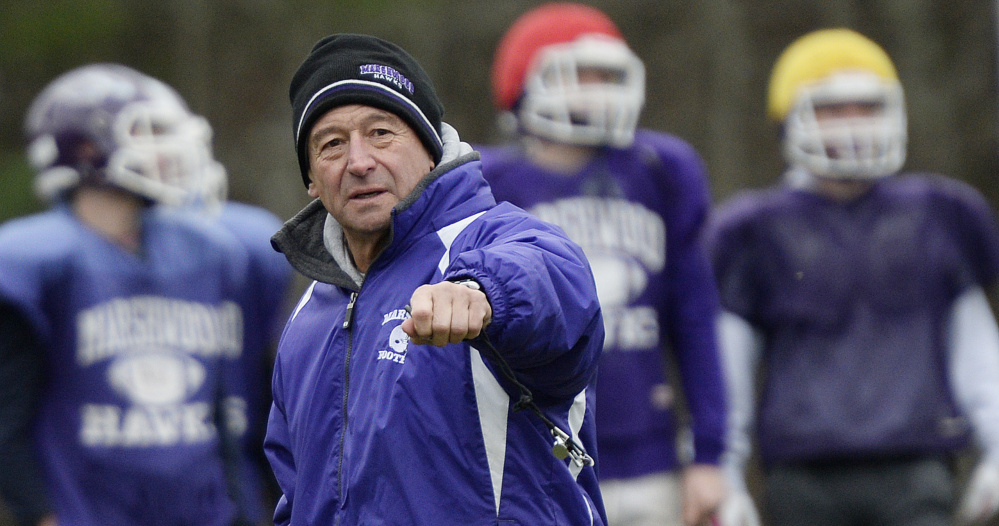 Alex Rotsko took over as coach in 2012 after Marshwood was coming off three straight 2-6 seasons. Since then, Marshwood is 57-11 and won back-to-back Class B championships in 2014 and 2015.