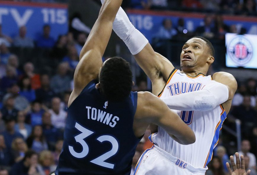 Russell Westbrook, right, continues to play at a high level overall for the Oklahoma City Thunder after an MVP season, but is averaging just 5.4 points in the fourth quarter compared with 10 points a year ago.