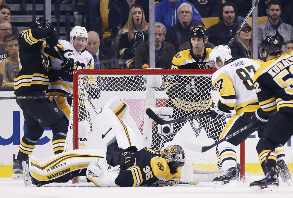 Pittsburgh's Sidney Crosby moves to score on Boston Bruins goalie Anton Khudobin during the second period Friday at TD Garden in Boston. (AP Photo/Michael Dwyer)