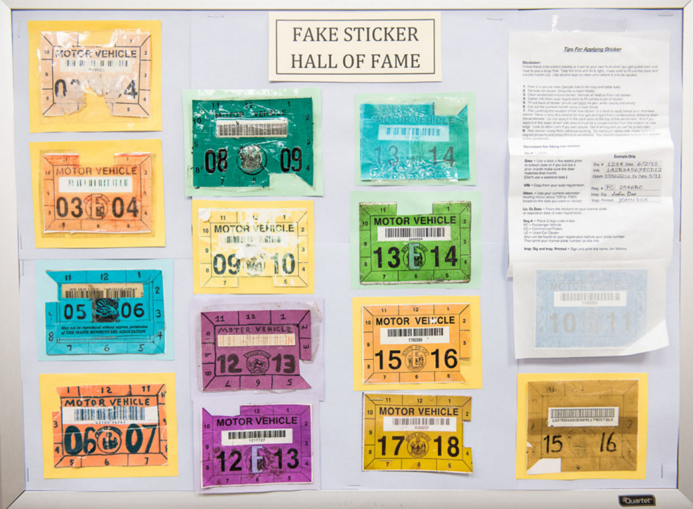 The Fake Sticker Hall of Fame at the state's traffic safety unit headquarters in Augusta displays confiscated forgeries.