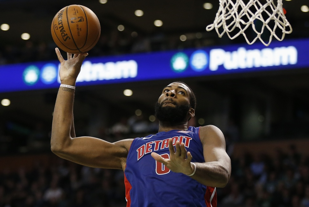 Detroit's Andre Drummond drives to the basket in the fourth quarter. Drummond finished with 26 points and 22 rebounds.
