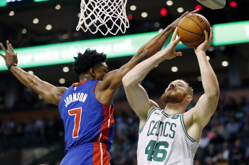 The Celtics' Aron Baynes gets a shot blocked in the first quarter.