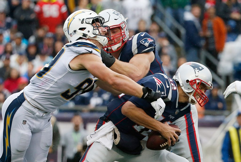 Patriots quarterback Tom Brady has remained healthy this season and led his team to a 6-2 start. He has, however, taken hits, like this one from San Diego's Joey Bossa, and the Patriots can't afford to lose him to an injury.
