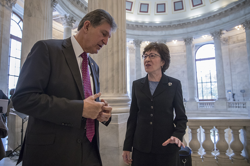 Sen. Joe Manchin, D-W.Va., and Sen. Susan Collins, R-Maine at the Capitol in Washington D.C. on Thursday morning.