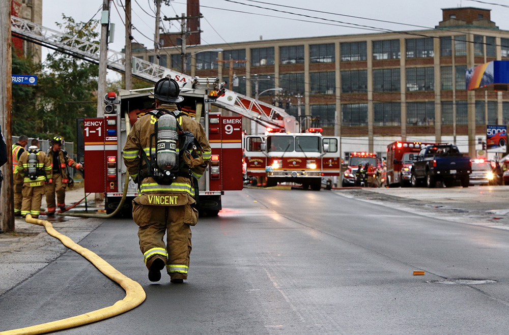 The Sanford Fire Department responded in force to the fire at the Stenton Trust mill Thursday morning.