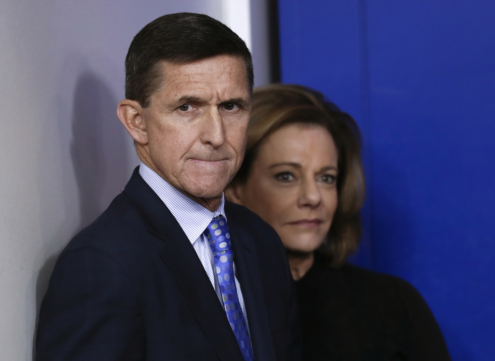 This file former National Security Adviser Michael Flynn, joined by K.T. McFarland, then-deputy national security adviser, at the White House in early 2017.