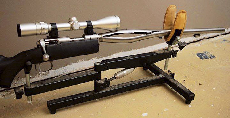 A Savage Arms stainless steel 10ML-II muzzleloader is displayed weeks after its barrel exploded and severely injured the owner's left hand.