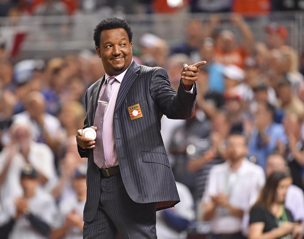 Pedro Martinez acknowledges cheering fans before the 2017 MLB All-Star Game at Marlins Park in Miami on July 11 of this year.