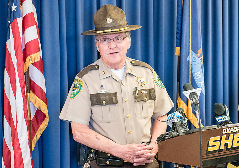 Oxford County Sheriff Wayne Gallant, shown during a news conference in May, submitted his resignation Wednesday, effective immediately.