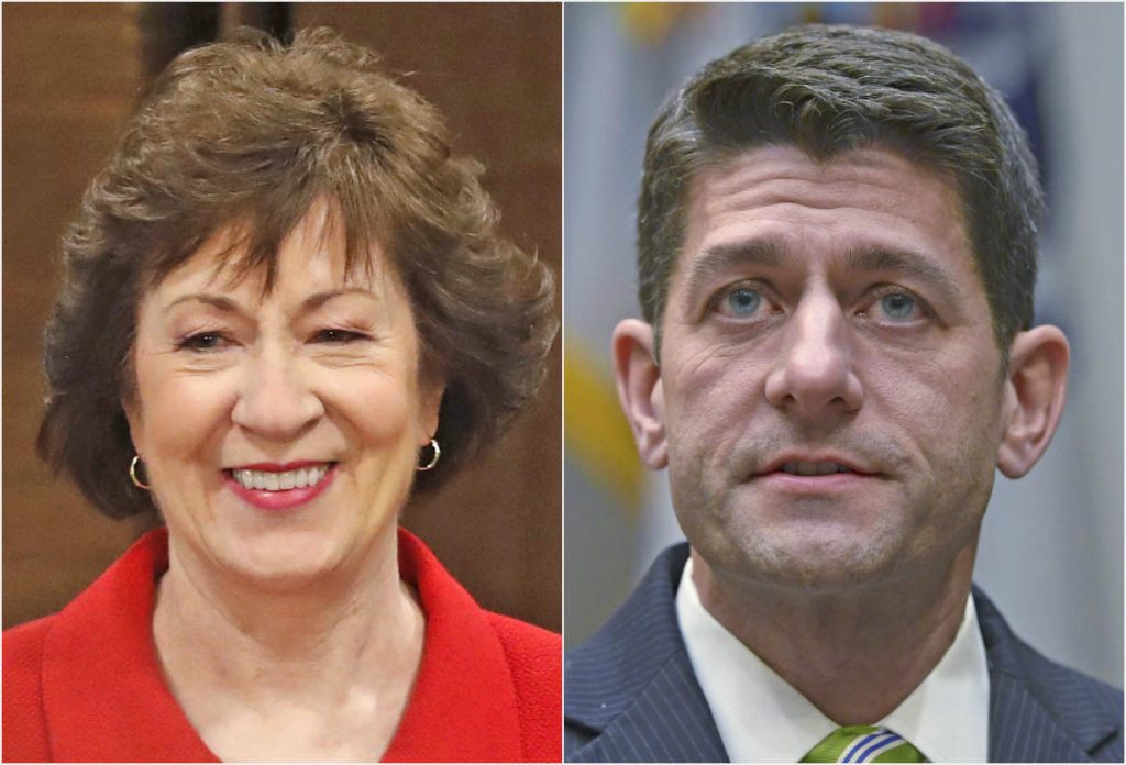 U.S. Sen. Susan Collins R-Maine and House Speaker Paul Ryan R-Wisconsin