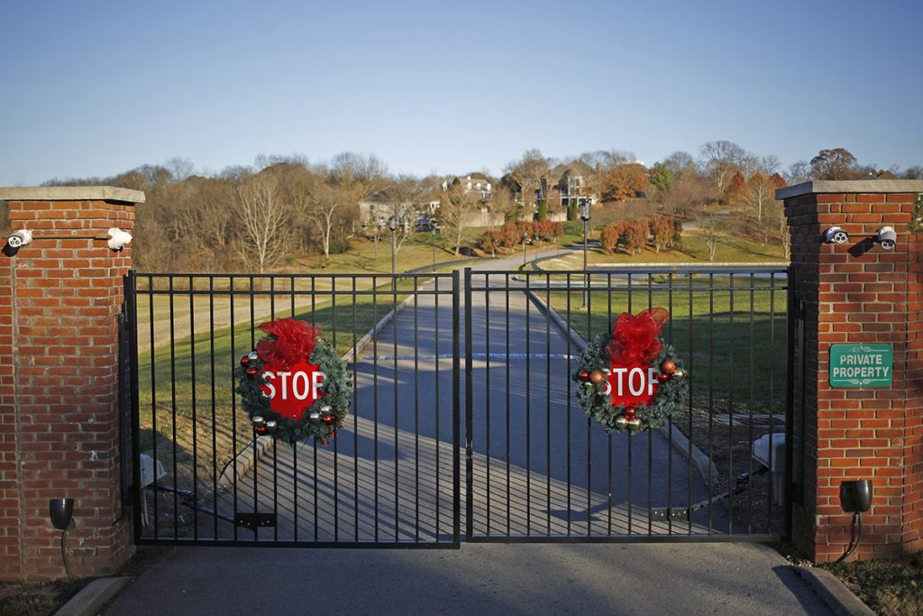 An entrance to the Rivergreen gated community in Bowling Green, Ky.
