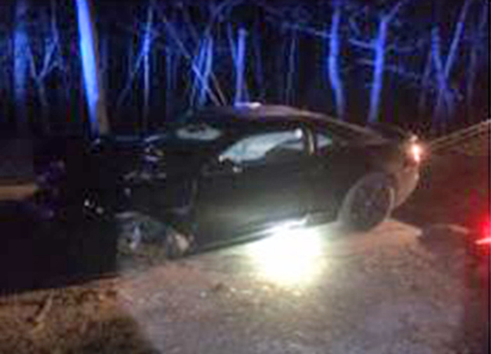 A passerby reported seeing this 2014 Camaro in the woods in Waterboro Sunday night.