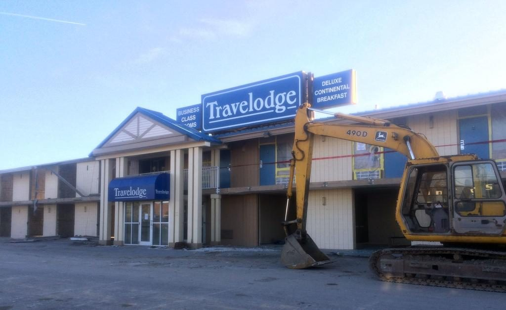 The former Travelodge Motel on Brighton Avenue at the Portland-Westbrook border is being torn down, to be replaced by a Hampton Inn & Suites.
