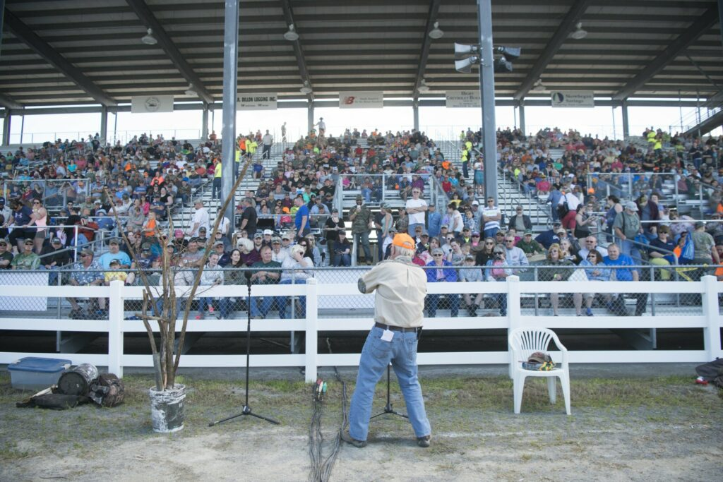 Robert Lambert welcomes the crowd on June 9, 2018, to the moose call demonstration at the Skowhegan Moose Fest at the Skowhegan Fairgrounds. A Guinness World Record was set by the 1,054 people who simultaneously made a moose call.