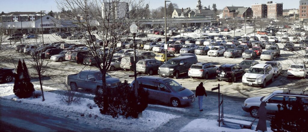 Parking in The Concourse in Waterville, as seen on January 17. The City Council took first votes on accepting $10,000 from Colby to pay for a parking attendant and on increasing fines for parking violations.