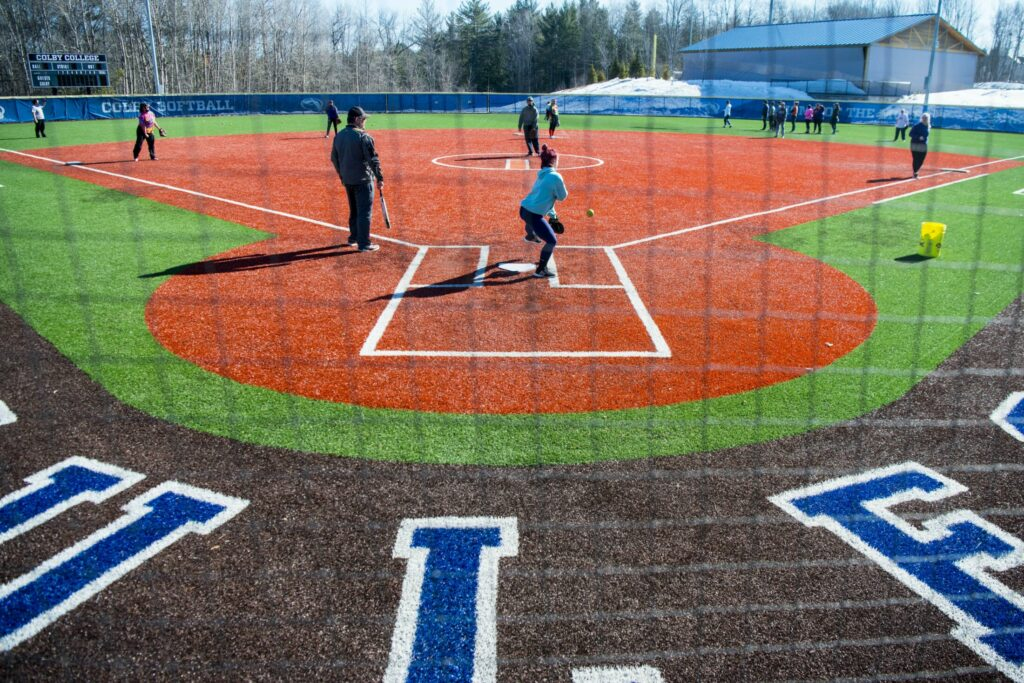 The Waterville Senior High School softball team practices at Colby College in Waterville on Wednesday, March 27.