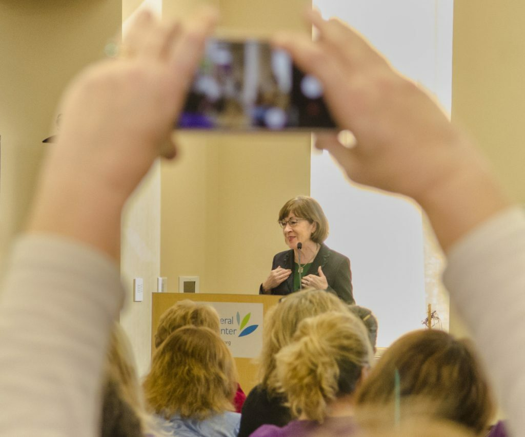 U.S. Sen. Susan Collins, R-Maine, speaks to home care and hospice workers at MaineGeneral Medical Center's Alfond Center for Health in Augusta.