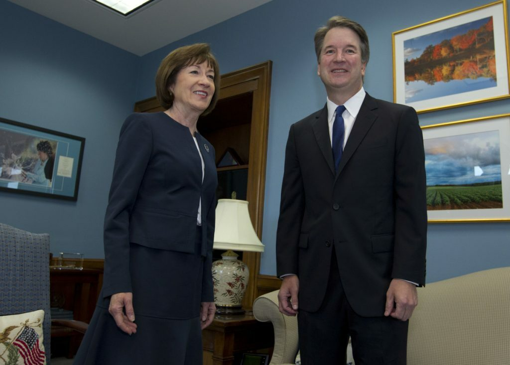 Sen. Susan Collins, R-Maine, meets with Supreme Court nominee Brett Kavanaugh at her office on Capitol Hill in Auguse 2018.