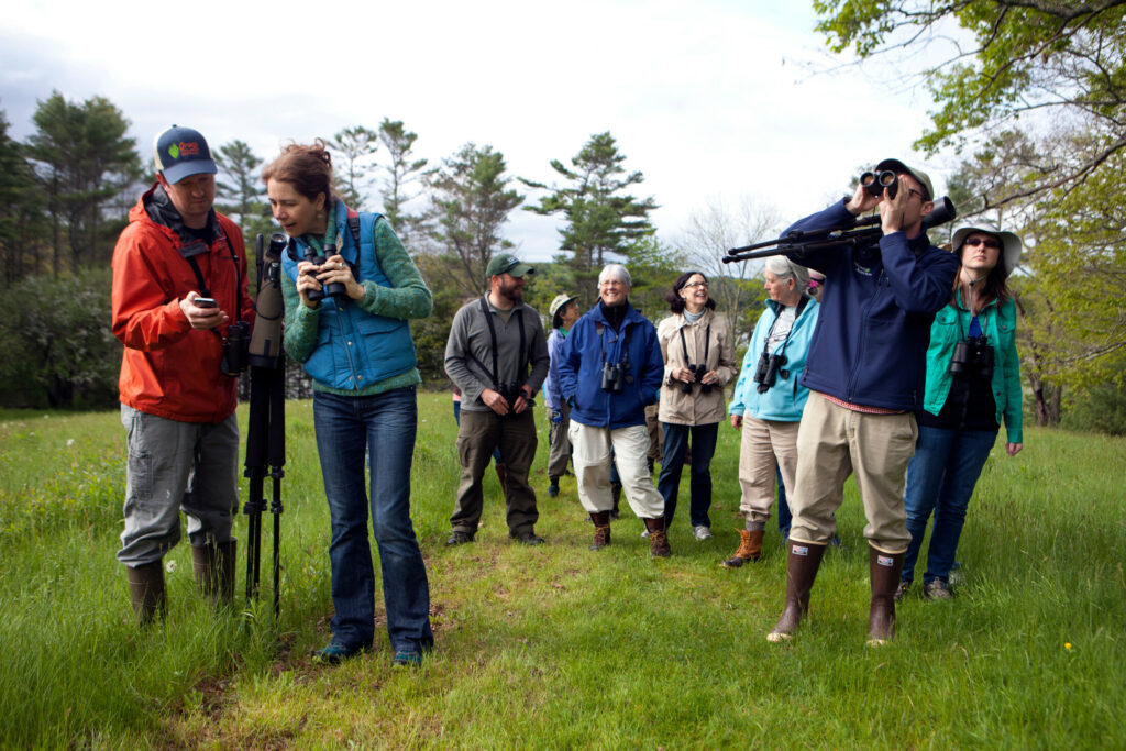 Audubon Staff Naturalist Doug Hitchcox, second from right, leads birders on a walk at Pettengill Farm in Freeport for the L.L. Bean-Maine Audubon Birding Festival in 2018.  Photo courtesty of Maine Audubon.