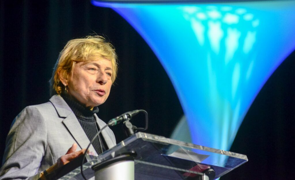 Gov. Janet Mills attends the Maine Governor's Conference on Tourism on Wednesday at the Augusta Civic Center.