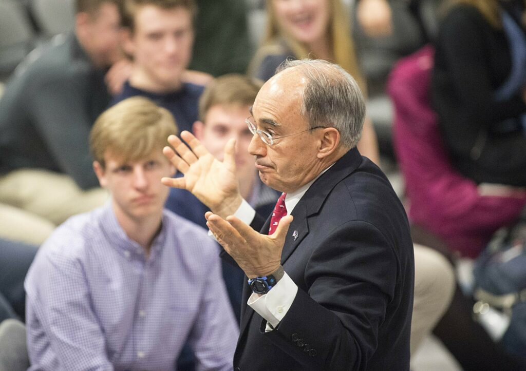 Former congressman Bruce Poliquin, listens to a question on the merits of ranked-choice voting in Waterville in 2019.